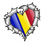 Ripped Torn Metal Heart with Waving Romania Romanian Country Flag Motif External Car Sticker 105x100mm